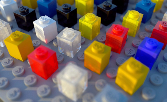 Colorful small Lego pieces