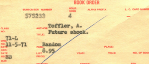 Carbon copy of 1971 order form for the book Future Shock.